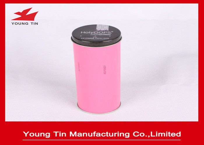 50 x 135 MM Metal Tea Tins With Lids , Pink Metal Storage Tins For Tea Packaging