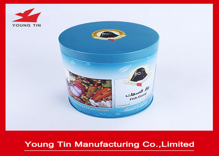 Cylinder Round Full Color Printed Metal Tin Container Box For Coffee Packaging