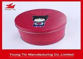 Red Aluminum Round 135 x 80 MM Cookie / Biscuits Gift Tins 0.23 MM Custom Printed